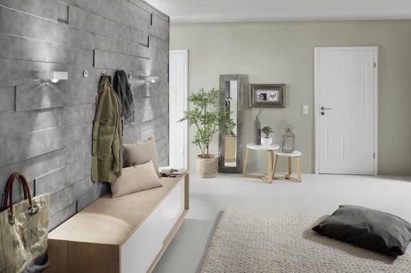 Fotografie Foto Interieur Wohnraum Boden Tuer Garderobe Modern Jacke Tasche Pflanze Bild Rahmen Vase Kissen